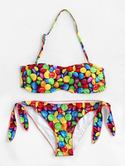 Rainbow Candy Print Side Tie Halter Bikini Set