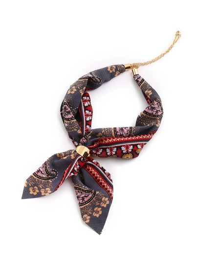 Retro Flower Print Chain Linked Neckerchief