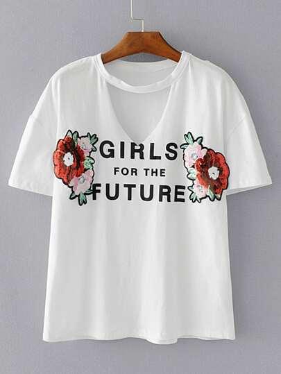 Camiseta de V-cuello con detalle con lentejuela