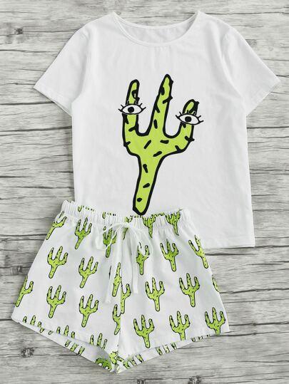 Cactus Print Tee And Shorts Pajama Set