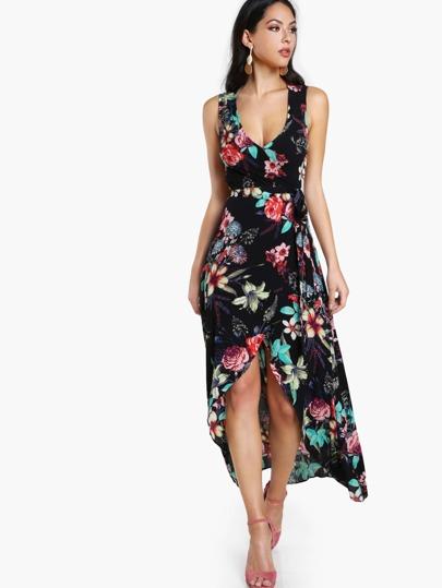 Cut Out Floral Print High Low Dress BLACK