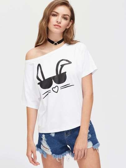 Tee-shirt imprimé du lapin lunetté