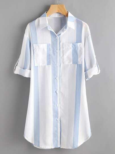 Contrast Striped Roll Tab Sleeve Shirt Dress
