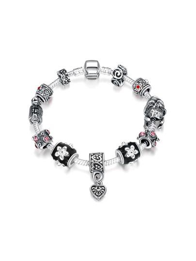 Heart And Flower Detail Chain Bracelet