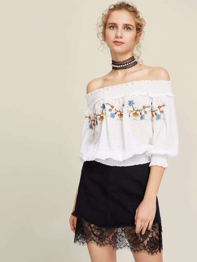 Flower Embroidered Smocked Bardot Top