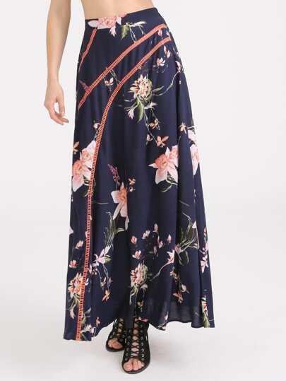 Falda con estampado de flor con detalle de croché - marino