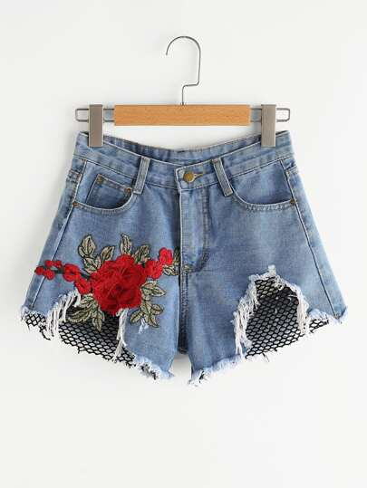 Shorts en denim de borde crudo aplique contraste de malla