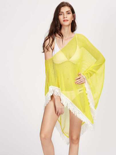 Contrast Tassel Trim Asymmetric Cover Up