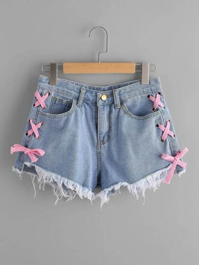 Lace Up Side Frayed Hem Denim Shorts
