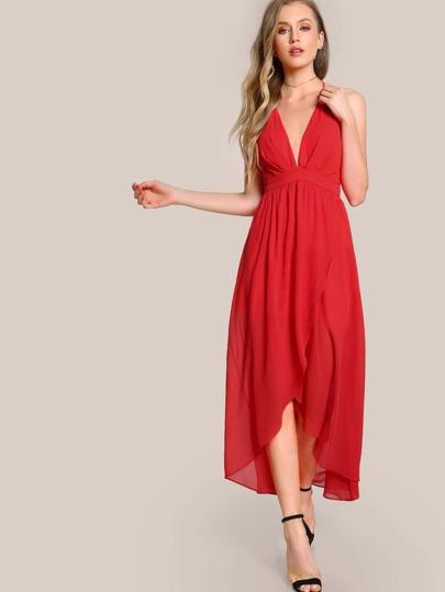 Deep V Flowy Dress TOMATO