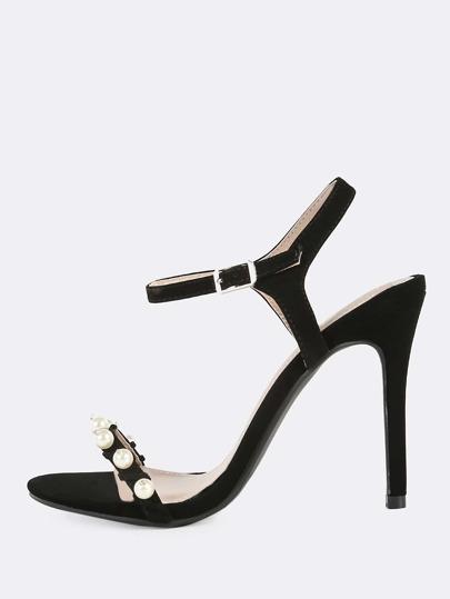 Nubuck Pearl Ankle Strap Heels BLACK