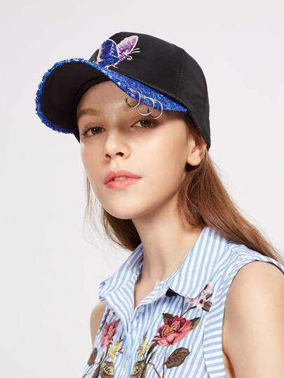 Embroidery Butterfly Sequin Baseball Cap With Ring