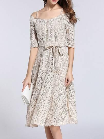 Spaghetti Strap Tie-Waist Lace Dress