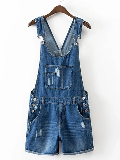 Distressed Cuffed Denim Overall Shorts