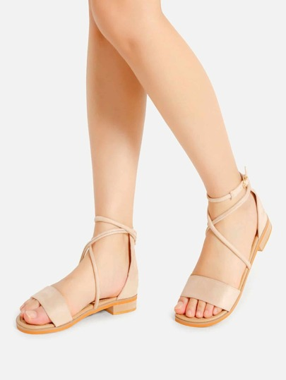 Open Toe Criss Cross Flat Sandals