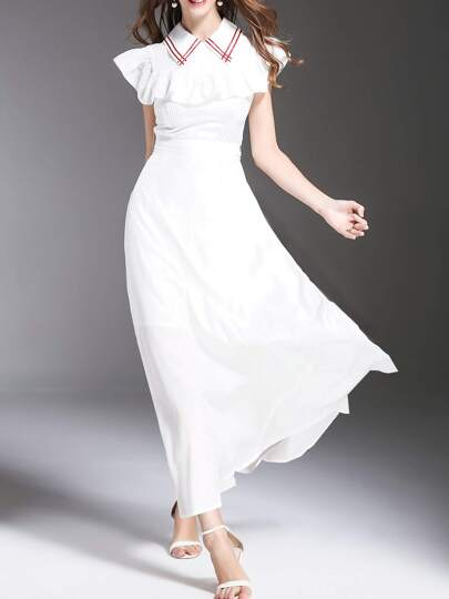 Ruffle Sleeve Tie-Waist Maxi Dress