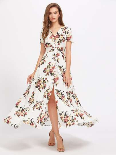 Tasseled Tie Smocked Waist Rose Print Dress
