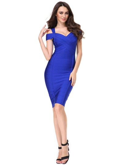Sweetheart Neckline Bandage Dress With Zipper Back