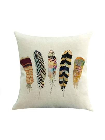Feather Print Pillowcase Cover