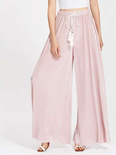 Tasseled Tie Waist Pleated Palazzo Pants