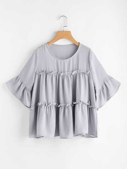 Flounce Trim Bell Sleeve Tiered Blouse