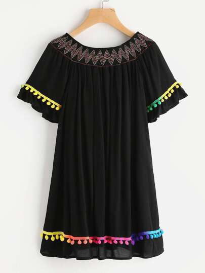 Embroidered Smocked Bardot Neck Pom Pom Trim Dress