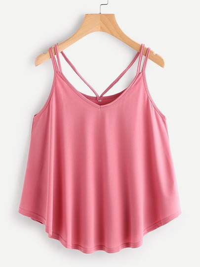 Curved Hem Strappy Cami Top