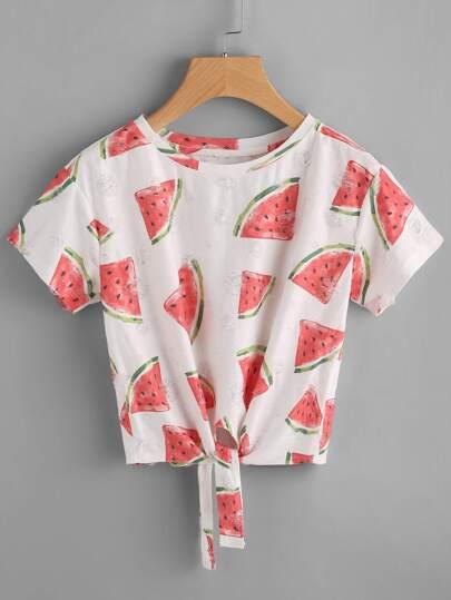 T-shirt con stampa di anguria