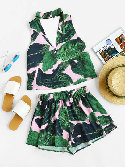 Double V Choker Neck Tropical Top And Shorts Co-Ord