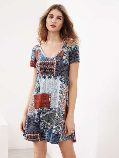 Patchwork Short Sleeve Tee Dress