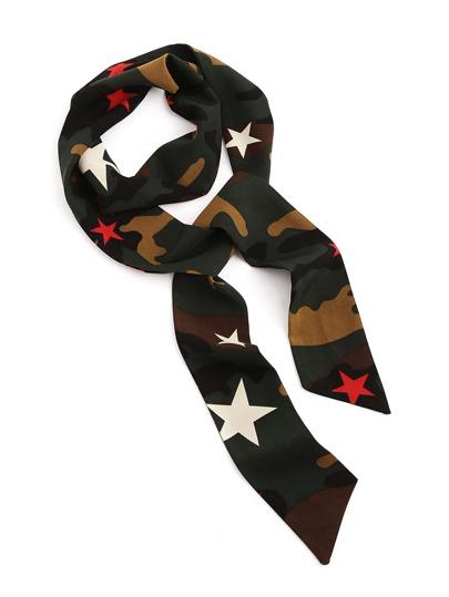 Модный тонкий шарф с принтом