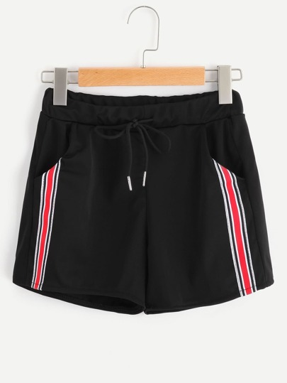 Drawstring Waist Panel Stripe Side Shorts