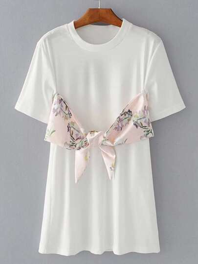 Contrast Floral Print Knot Front Tee
