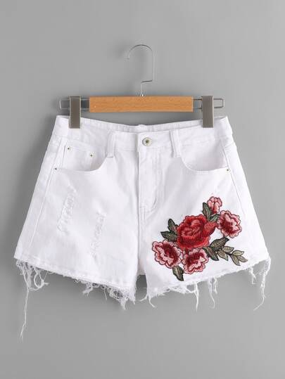 Embroidered Applique Raw Hem Denim Shorts