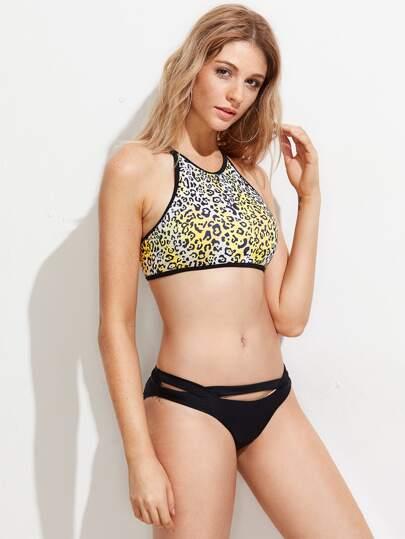 Leopard Print Racer Front Mix And Match Bikini Set