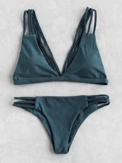 Sets de bikini de tiras de trenza con abertura