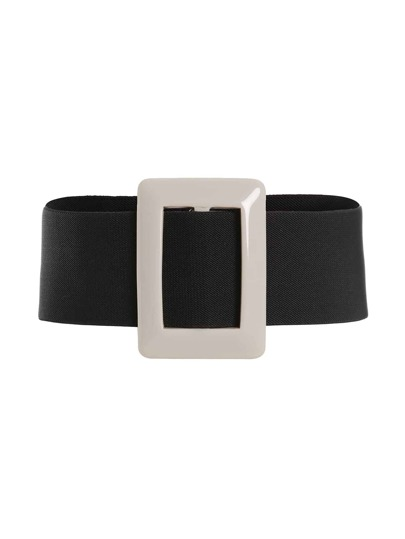 Two Tone Buckle Design Wide Belt