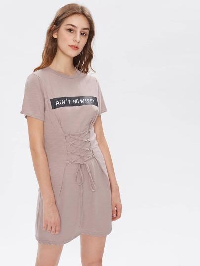 Letter Print Lace Up Corset Dress