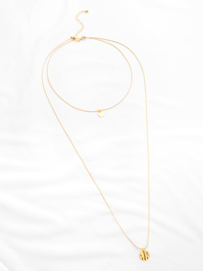 Sequin Pendant Layered Chain Necklace