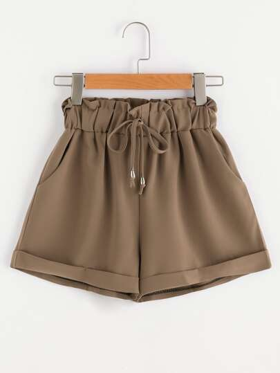 Shirred Drawstring Waist Cuffed Shorts