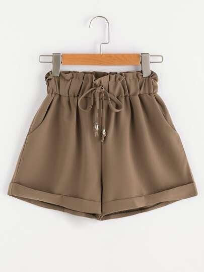 Shorts de fruncido con cordón