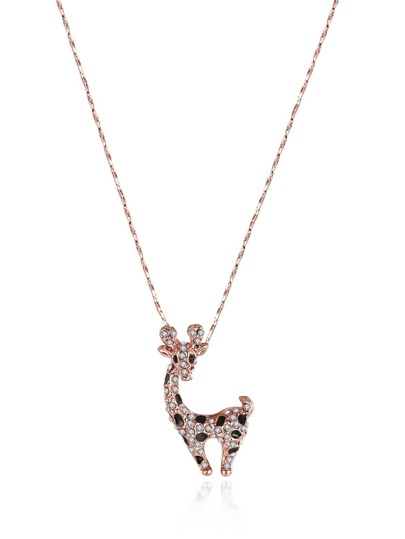 Rhinestone Deer Pendant Chain Necklace