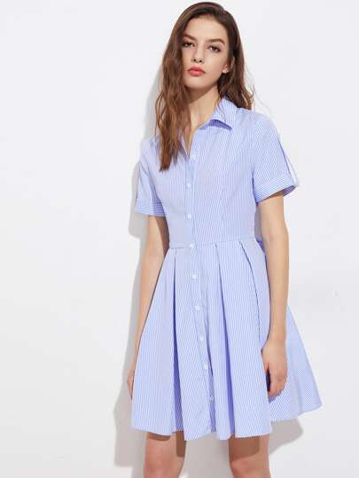 Roll Tab Cuffed Sleeve Box Pleated Shirt Dress