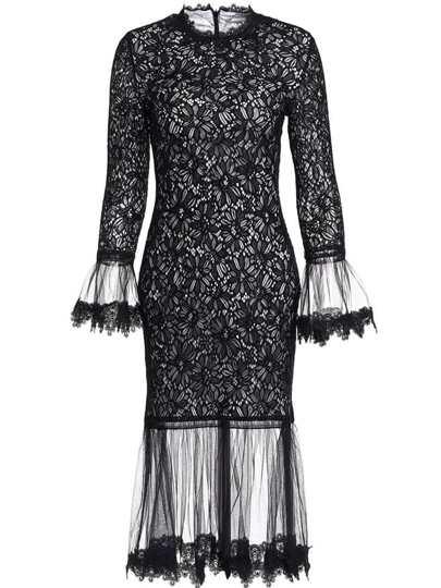 Bell Sleeve Contrast Gauze Sheer Lace Dress