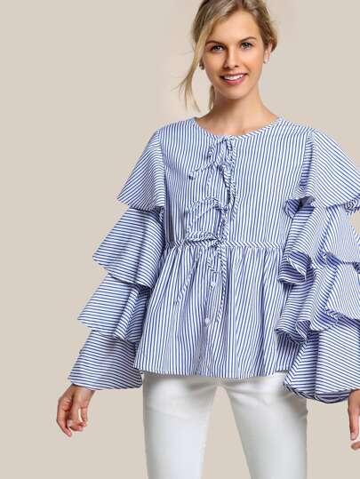 Striped Layered Sleeve Button Up Shirt BLUE