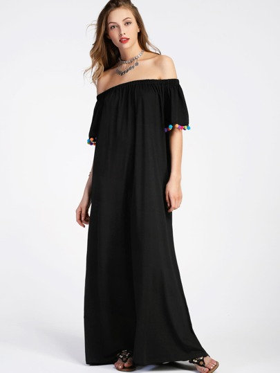 Bardot Pom Pom Trim Full Length Dress