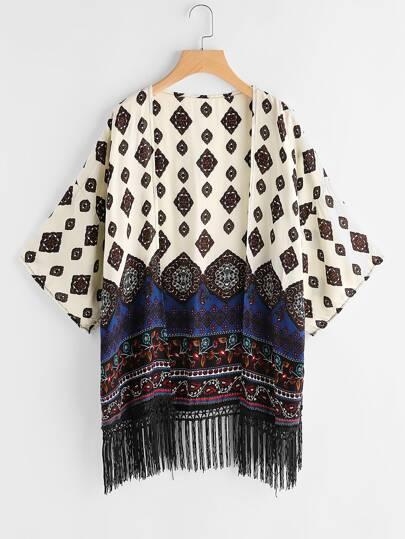 Aztec Print Drop Shoulder Fringe Hem Kimono
