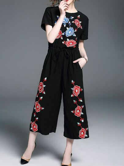 Flowers Embroidered Drawstring Pockets Jumpsuit