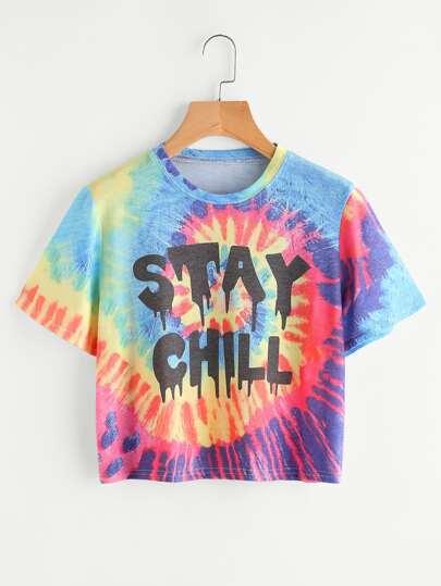 Tee-shirt aquarelle imprimé du slogan