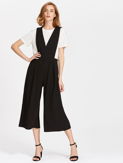 V Neckline Sleeveless Jumpsuit